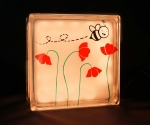 LED night light glass block with flower & bee decal