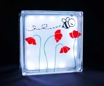 glass block night light with bumble bee
