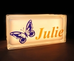 Personalised night light glass block with butterfly decal