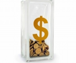 Dollar sign glass block money box