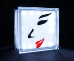 Glass block LED light with face silhouette decal