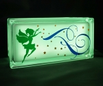 Glass block night light with fairy decal