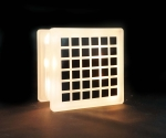 Optical illusion square decal on glass block night light