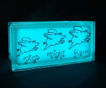 LEd light glass block with pig decal