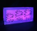 Glass block night light with pigs decal