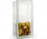 glass block money box plain tall