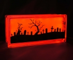 Graveyard halloween glass block lamp