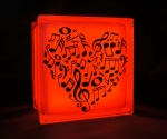 children's night light with music note heart decal