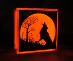 Wolf howling at the moon silhouette glass block halloween light