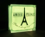 Glass block LED light with Eiffel tower decal