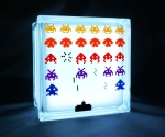 retro lamp LED with space invaders decal