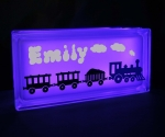 Glass block LED night light with personalised name and train decal