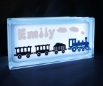 Personalised Glass block LED night light with train decal