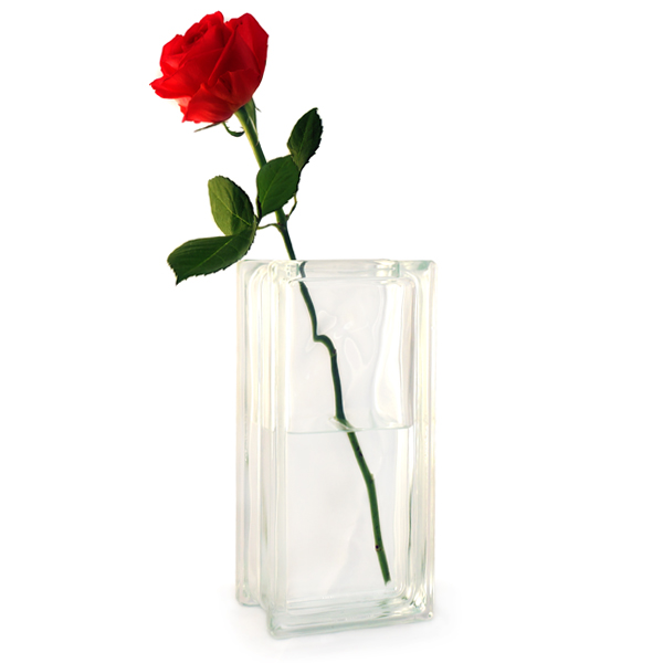 Creative Glass Gifts | Clear glass vase - glass block vase, flower vase,  table centrepiece