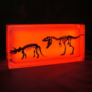 Glass block night light with dinosaur decal