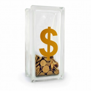 Dollar sign glass block money box