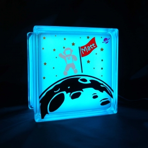 Astronaut space glass block night light