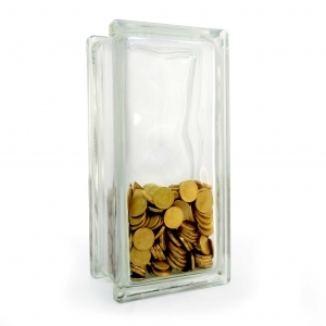 glass block money box plain tall