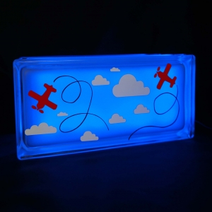 Kids glass block night light with clouds & planes