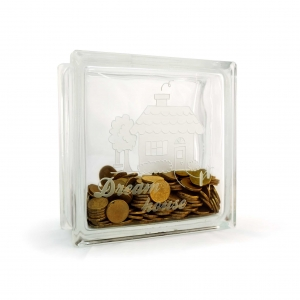 Glass block money box dream house