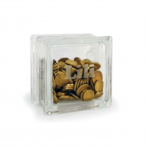 Personalised small glass block money box