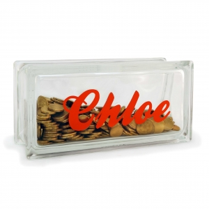 personalised money box glass block