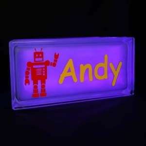 Personalised Night light glass block with Robot