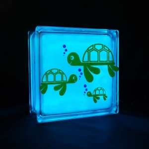 Glass block night light with turtle decal
