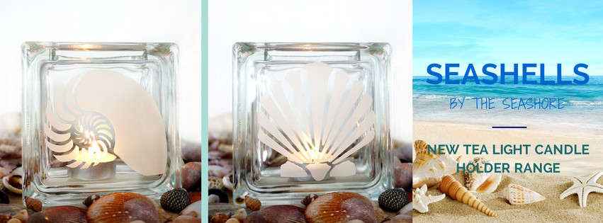 glass tea light candle holders with seashells