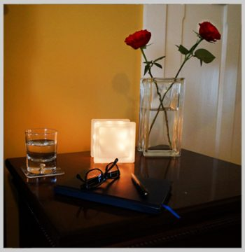 LED globlock night light and glass block vase with roses