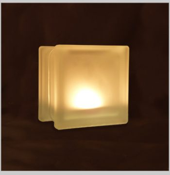Glass block glass tealight candle holder