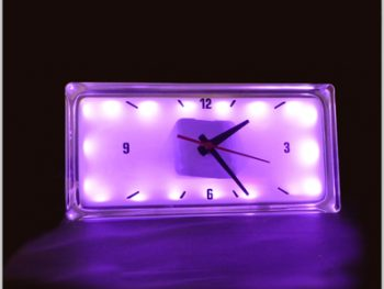 LED light glass clock