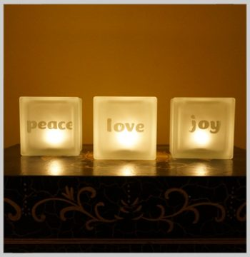 Glass block glass tealight candle holder with peace love joy motif