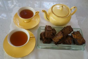 afternoon tea brownies in glass tray