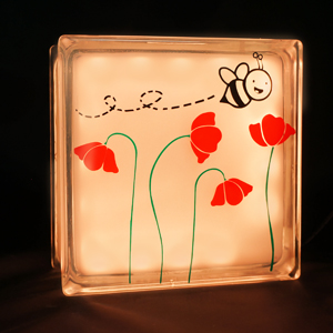 Glass block nightlight with bee and flowers