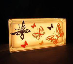Glass block kids nightlight with butterflies