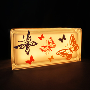 Glass block kids nightlight with butterflies