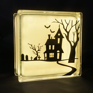 Haunted halloween house decal lamp