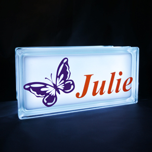 Personalised night light with butterfly decal