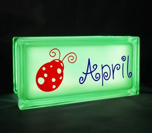 Glass block nightlight with ladybug decal
