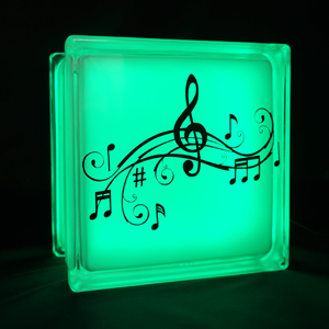Glass block LED light with music notes decal