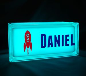 Personalised nightlight with space rocket decal