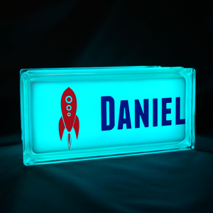 Personalised nightlight with space rocket decal