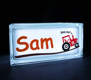 Personalised night light glass block with tractor decal