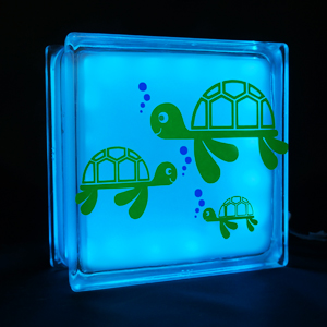 Kids night light with turtle decal
