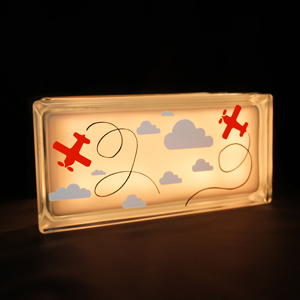 Glass block nightlight with planes and clouds