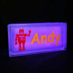 Personalised nightlight with robot decal