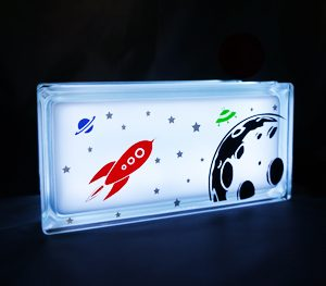Space theme night light glass block