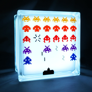 Glass block LED light with Space invaders decal