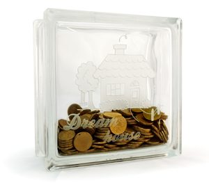 Glass block money box dream house etch